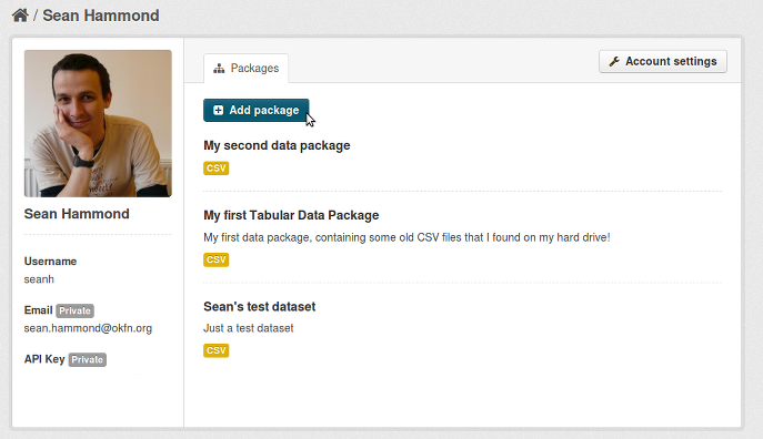 Screenshot of my Data Packager dashboard